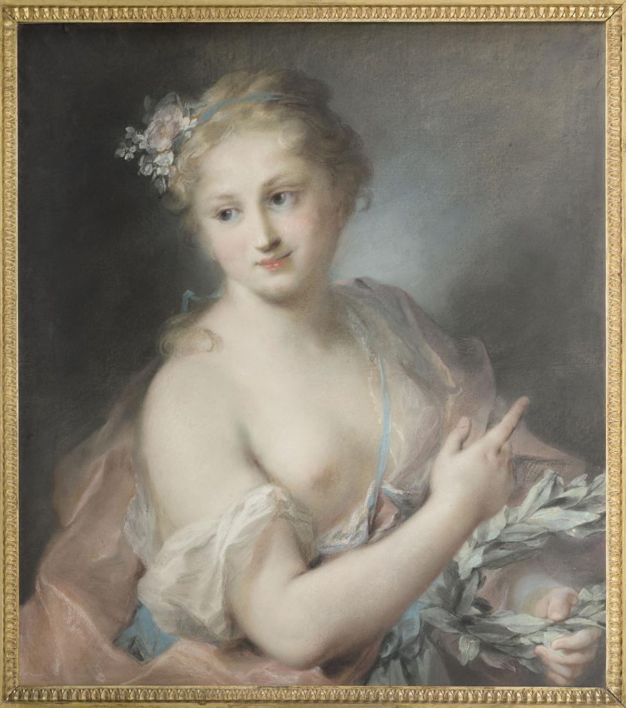Jeune fille tenant une couronne de laurier, nymphe de la suite d'Apollon, Rosalba Carriera