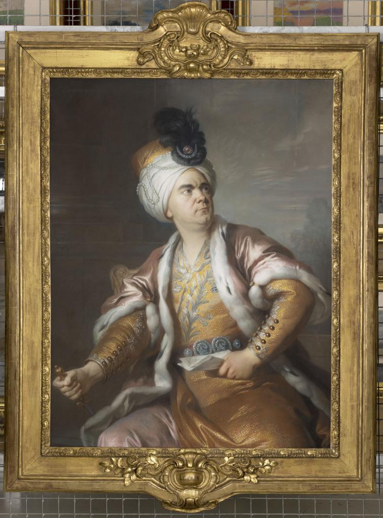 Portrait de l'acteur Henri-Louis Caïn, dit Lekain (1728/29-1778) dans le rôle d'Orosmane dans la tragédie de Voltaire, Zaïre, Simon BernardLenoir