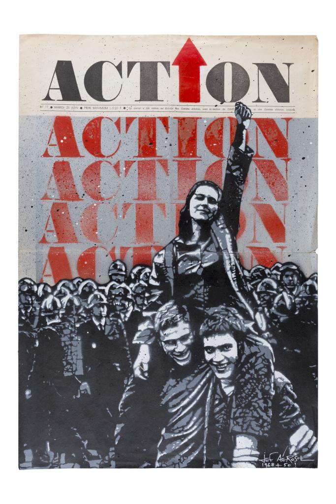 Jef Aérosol, Action, 2018, technique mixte sur un original de la une du journal Action, 54 x 37 cm