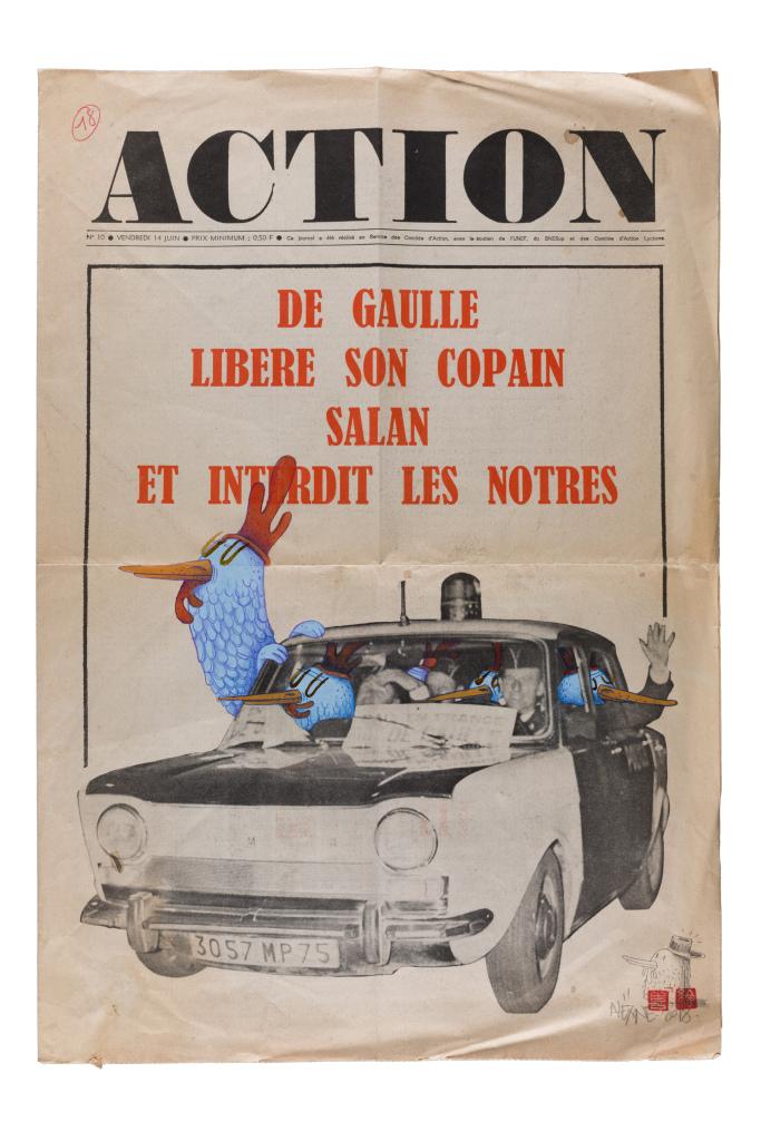 Alëxone, Action, 2018, technique mixte sur un original de la une du journal Action, 54 x 37 cm
