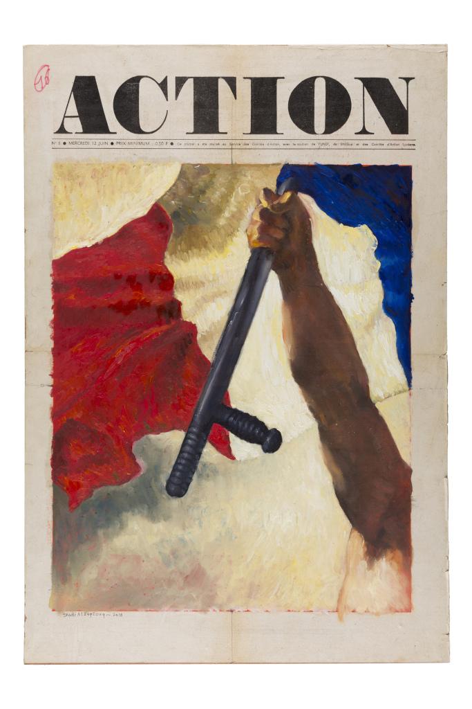 Shadi Alzaqzouq, Action, 2018, technique mixte sur un original de la une du journal Action, 54 x 37 cm