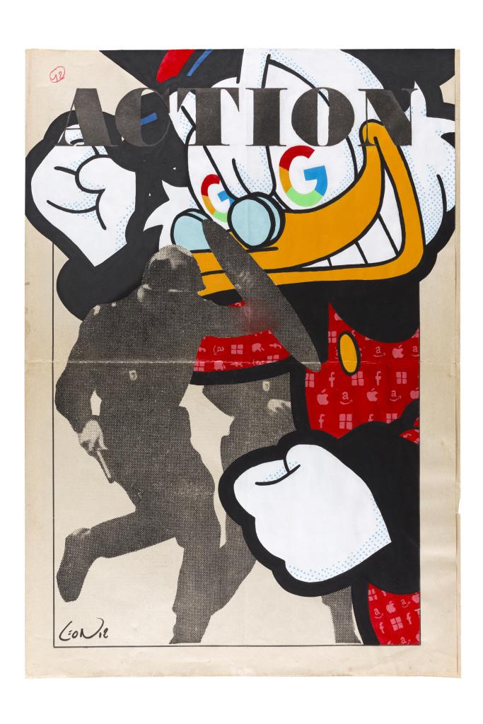Greg ͞Léon͟ Guillemin, Action, 2018, technique mixte sur un original de la une du journal Action, 54 x 37 cm