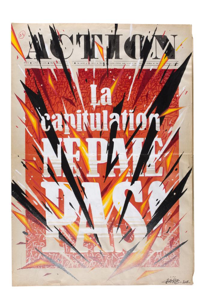 Katre, Action, 2018, technique mixte sur un original de la une du journal Action, 54 x 37 cm