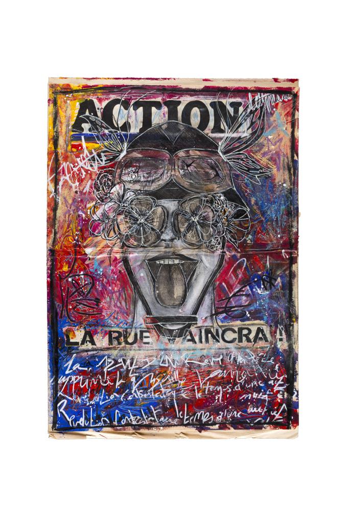 Betty Mariani, Action, 2018, technique mixte sur un original de la une du journal Action, 54 x 37 cm