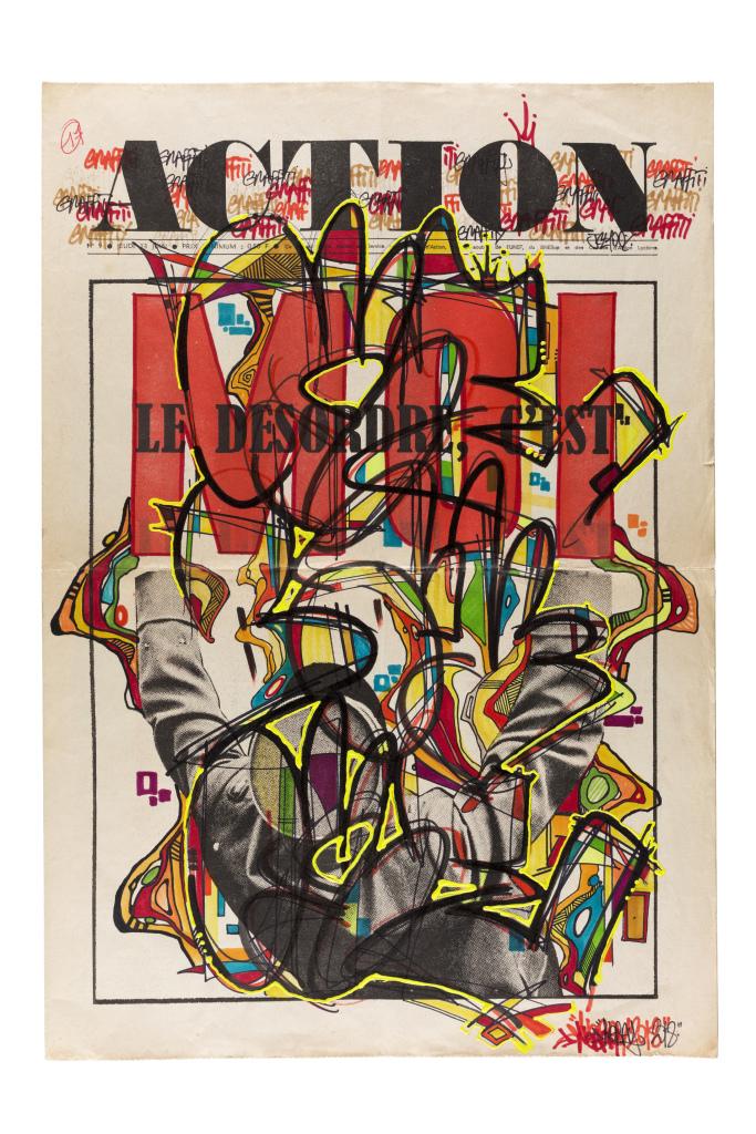Nebay, Action, 2018, technique mixte sur un original de la une du journal Action, 54 x 37 cm
