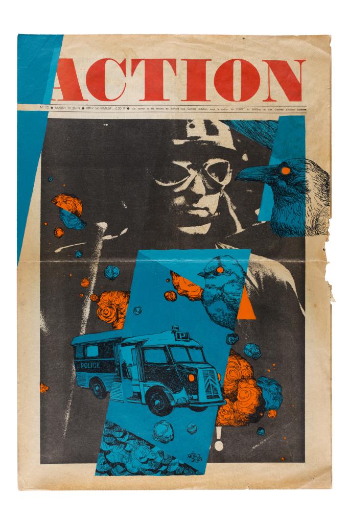 Retro, Action, 2018, technique mixte sur un original de la une du journal Action, 54 x 37 cm