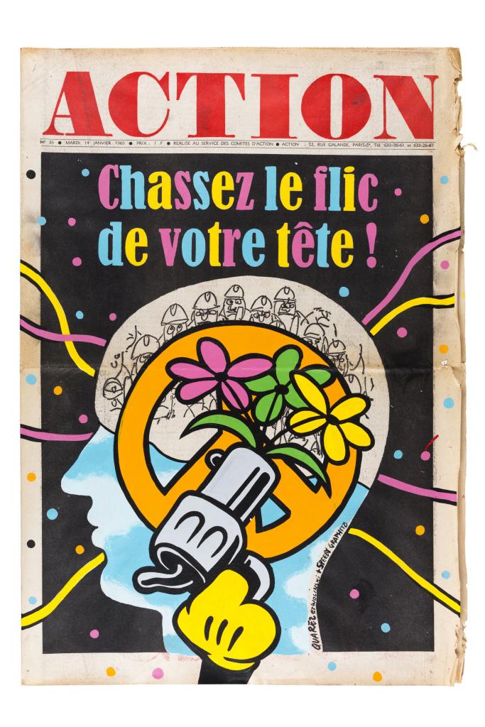 Speedy Graphito, Action, 2018, technique mixte sur un original de la une du journal Action, 54 x 37 cm