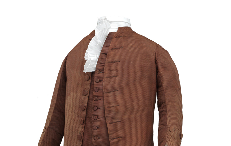 Suit, three-piece, worn by Benjamin Franklin in 1778. 2012.0187.001. Left side, three-quarter front view.