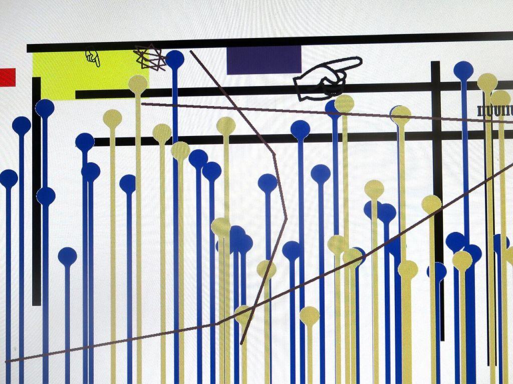 Claude Closky, Un enfant de 5 ans en ferait autant !, 2017-18, installation video interacive, dimensions variables. Vue d'installation, Galerie des enfants, Centre Pompidou