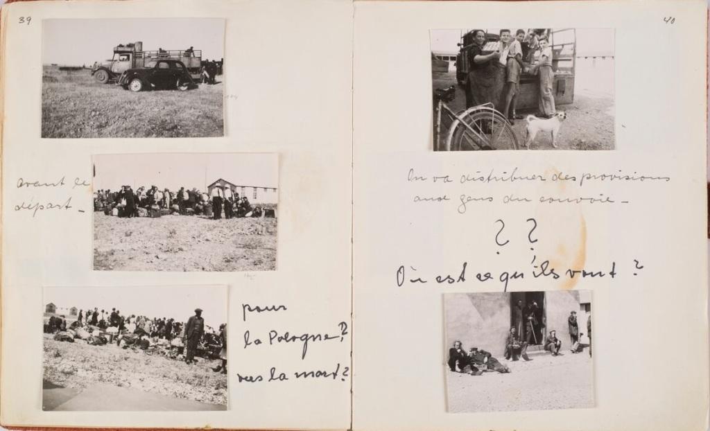Friedel Bohny Reiter, Vues du camp de Rivesaltes et portraits d'internés, double page issu de l'album photographique De mon travail au camp de Rivesaltes, 12 novembre 1941 -25 novembre 1942