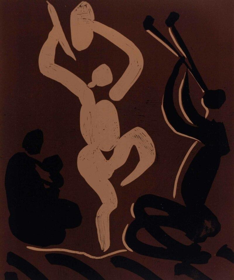 Pablo Picasso, Bacchanale avec une femme assise tenant un bébé, 195