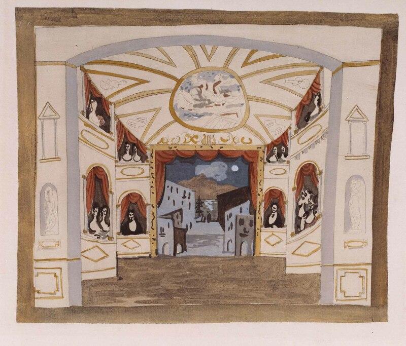 Pablo Picasso, Projet de décor pour le ballet Pulcinella, [1920]