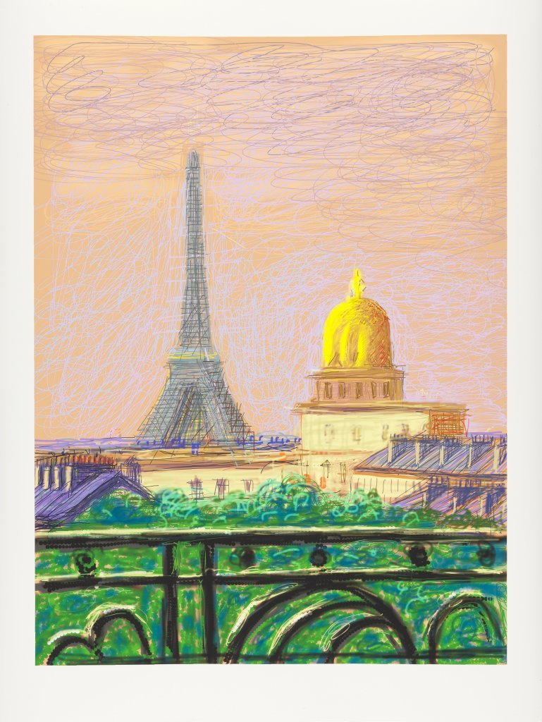 David Hockney, Eiffel Tower by Day, 2010, Dessin sur iPad