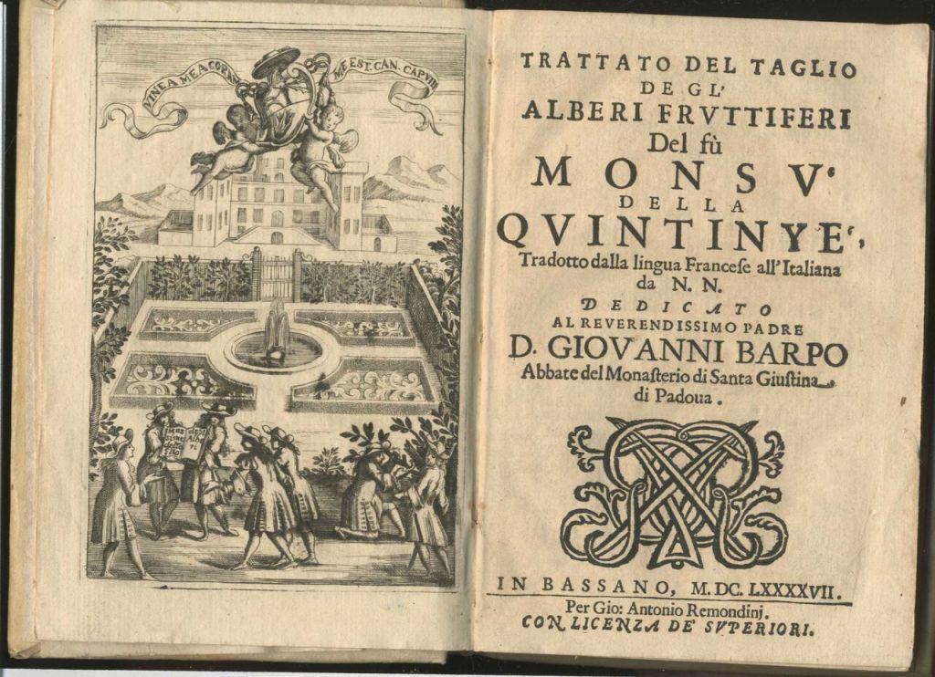 Jean-Baptiste de la Quintinie, Trattato del taglio degli alberi fruttiferi, Remondini, Bassano 1697, Bibliothèque de FSG, Mila