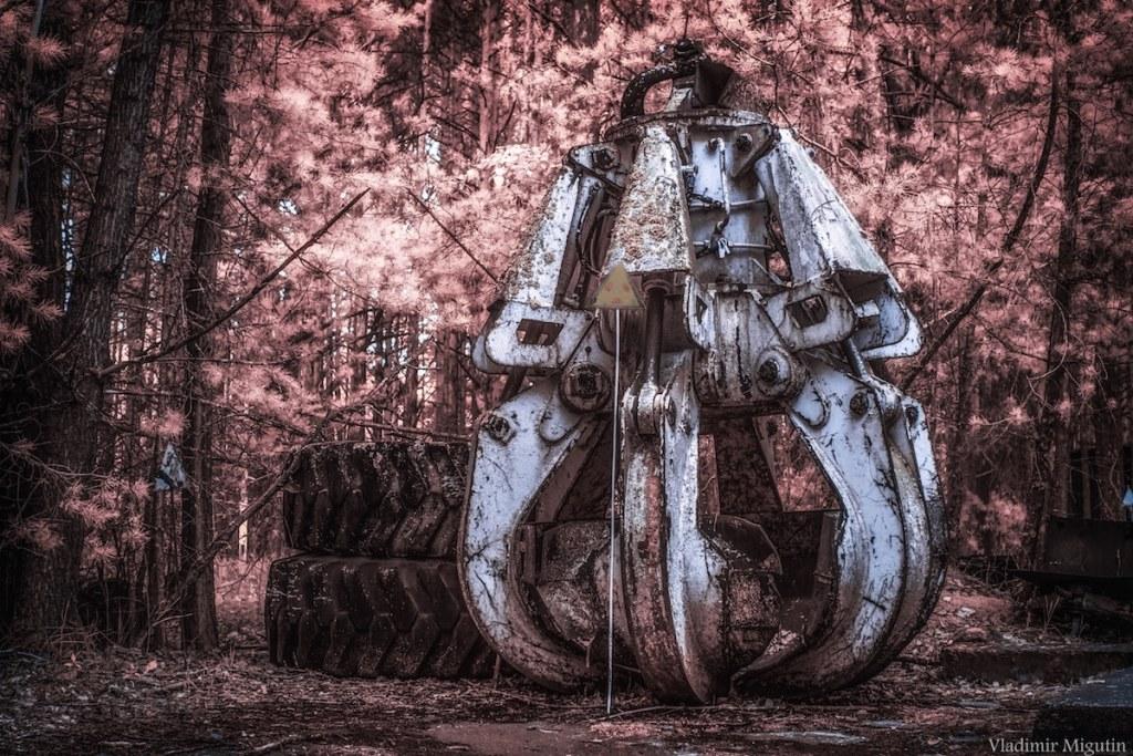 Une des machines servant à réparer le toit de la centrale, Chernobyl Exclusion Zone