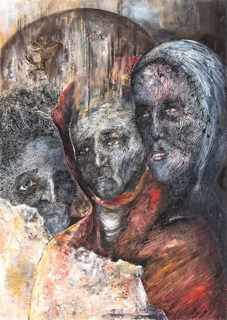 Kristina Pirkovic, Stabat Mater Dolorosa, Encre et huile sur papier, 70x50cm, 2017