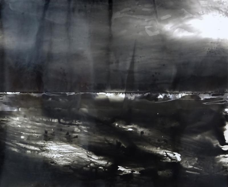 La descente - Série inspirée par le paysage norvégien du Stromfjord dans Seraphita de Balzac, 2017 (cliché-verre)