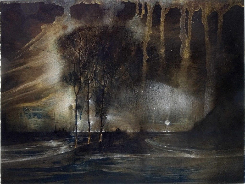 La nuit de Swedenborg-Série inspirée par le paysage norvégien du Stromfjord dans Seraphita de Balzac 2016 cyanotype gouache crayon de couleur