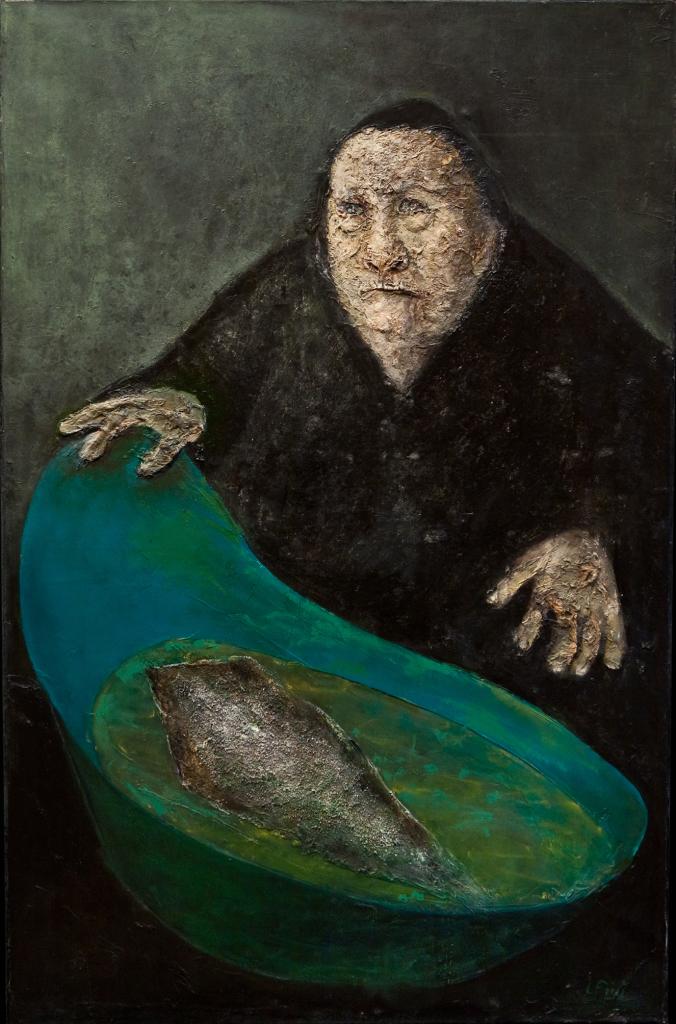 Leonor Fini, La Femme à la Morue (Huile sur toile 1960-92-x-60-cm)