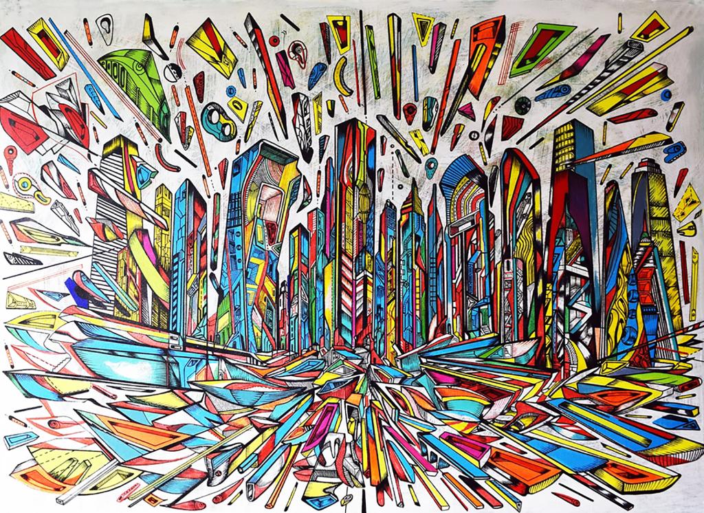 Marko Gavrilovic, THE FLOW, 2017, acrylic on canvas,116x158cm