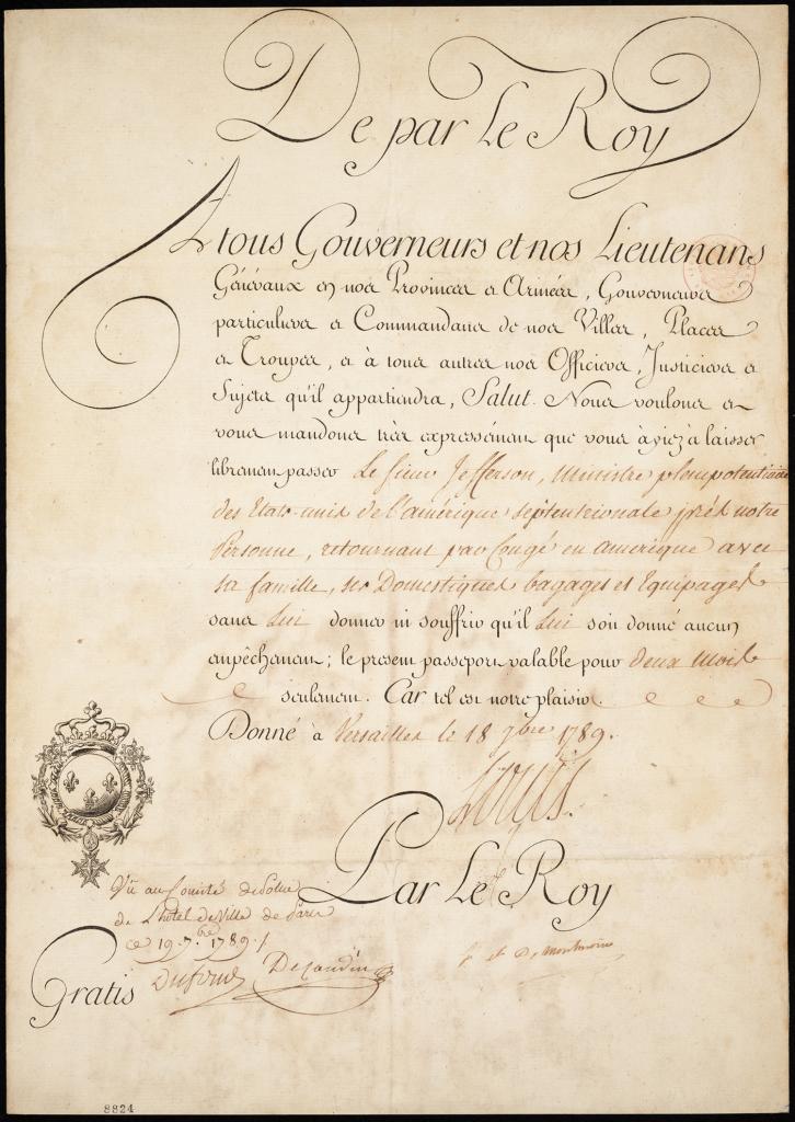 Passport Issued to Thomas Jefferson