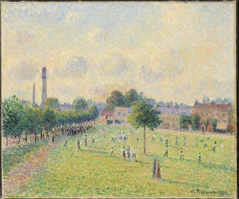 Camille Pissarro, Kew Green, 1892, Huile sur toile, 46 x 55 cm, RF 1979-8, Lyon, musée des Beaux-Arts, dépôt du musée d'Orsay