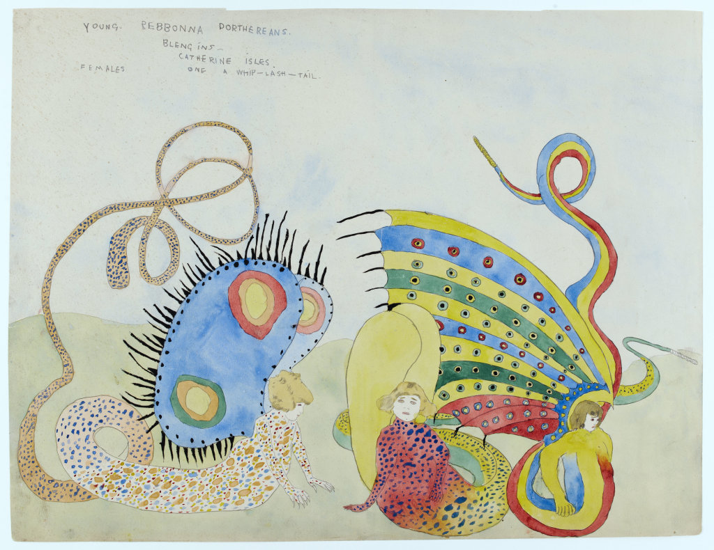 Henry Darger, Young Rebonna Dorthereans - Blengins - Catherine Isles, Female, One whip-lash-tail, 1920-1930