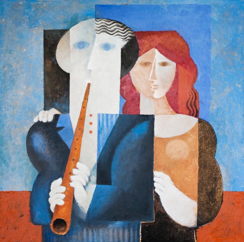Samy-Briss, La Flûte Enchanteresse, 2000 (Huile sur toile 80 x 80 cm)
