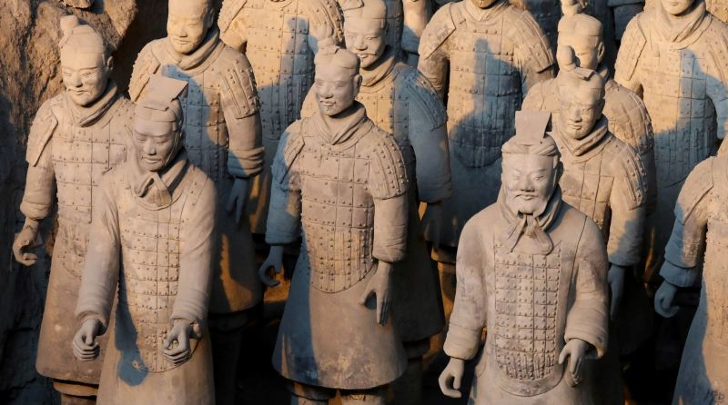 (FILES) This file photo taken on January 8, 2018 shows China's famous terracotta warriors pictured in the northern Chinese city of Xian. The theft of a thumb off an ancient Terracotta Warrior statue on display in the US incited a wave of criticism on Chinese social media on February 20, 2018, following China's calls to