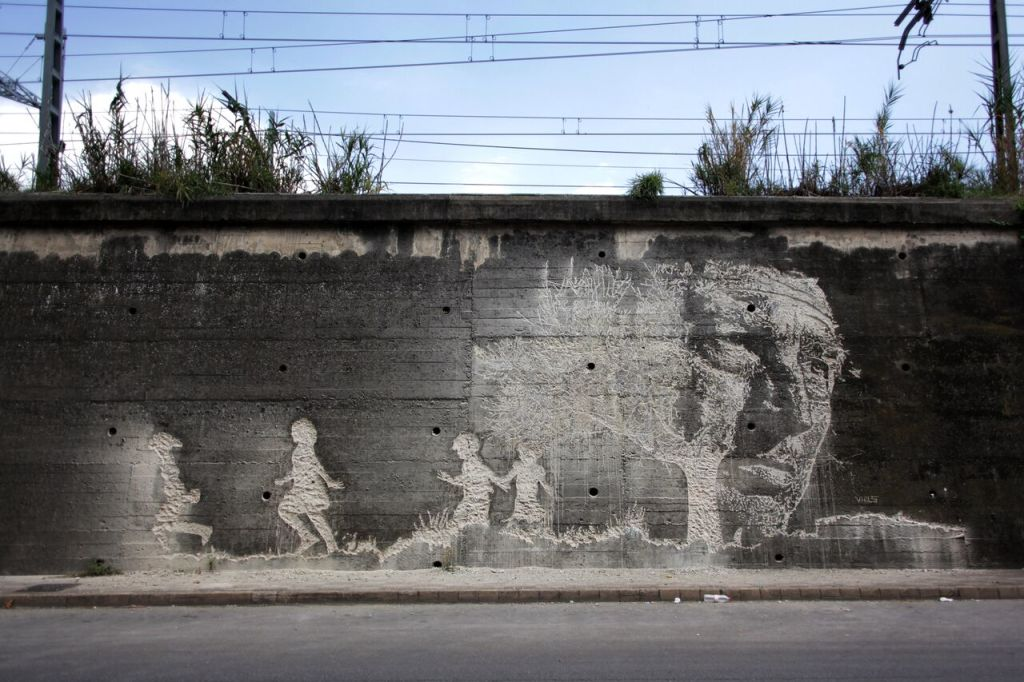 VHILS, MileStone, Girona, Spain, 2012 by Smart Bastard