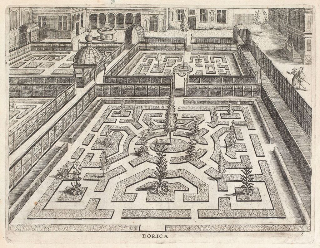 Vredeman de Vries, Hortorum viridariorumque elegantes et multiplicis formae, Anvers 1583, Bibliothèque de FSG, Mila
