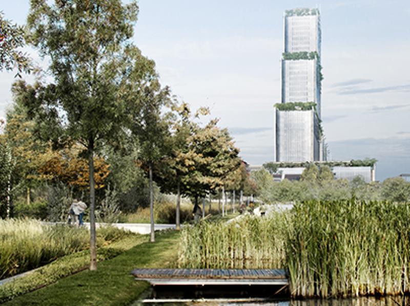 Vue de l'extérieur du Palais de Justice de Renzo Piano
