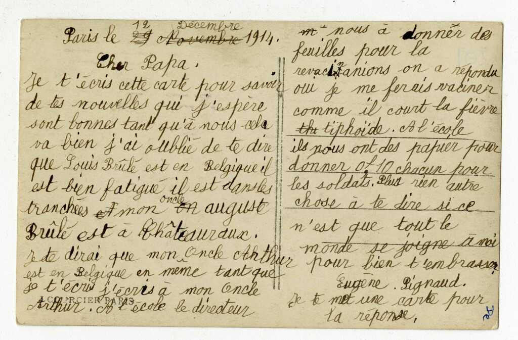 Carte postale d'Eugène Pignaud à son papa mobilisé, décembre 1914
