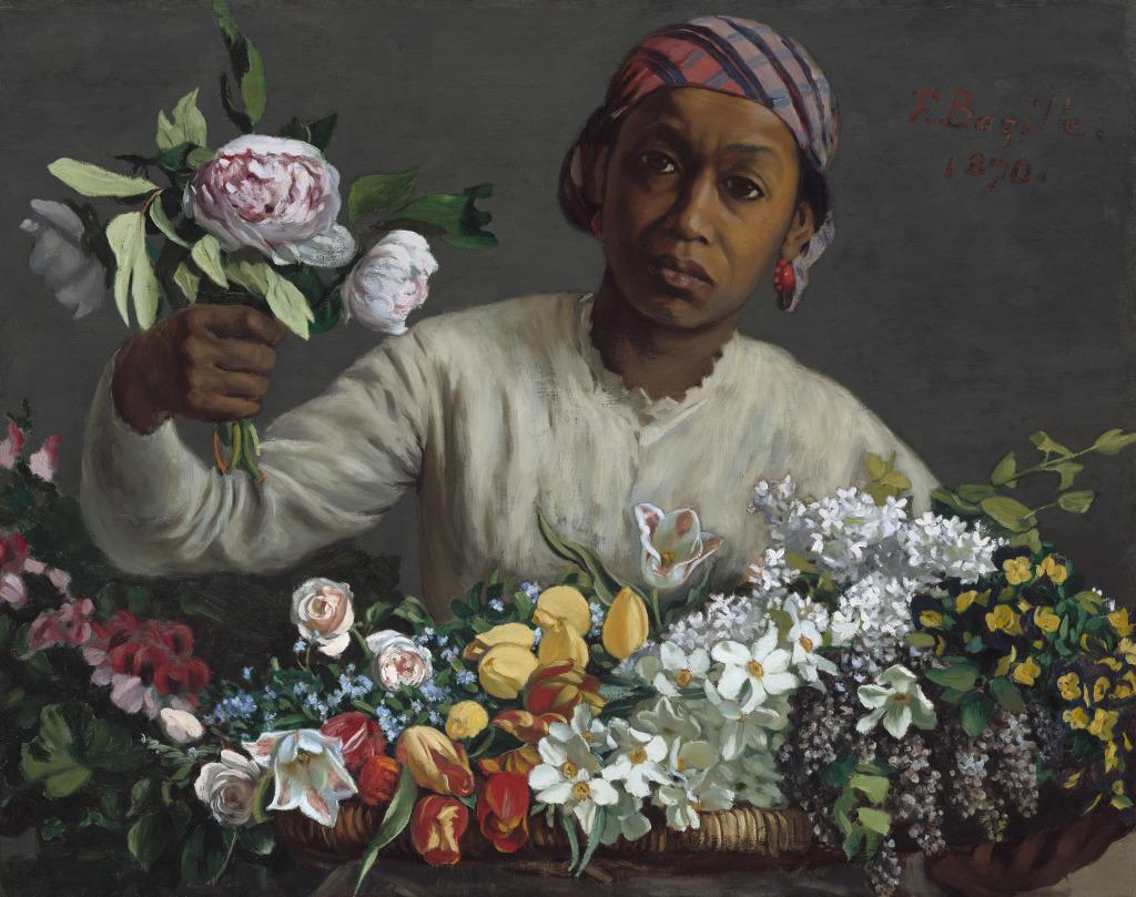 Frédéric Bazille, Jeune femme aux pivoines, 1870