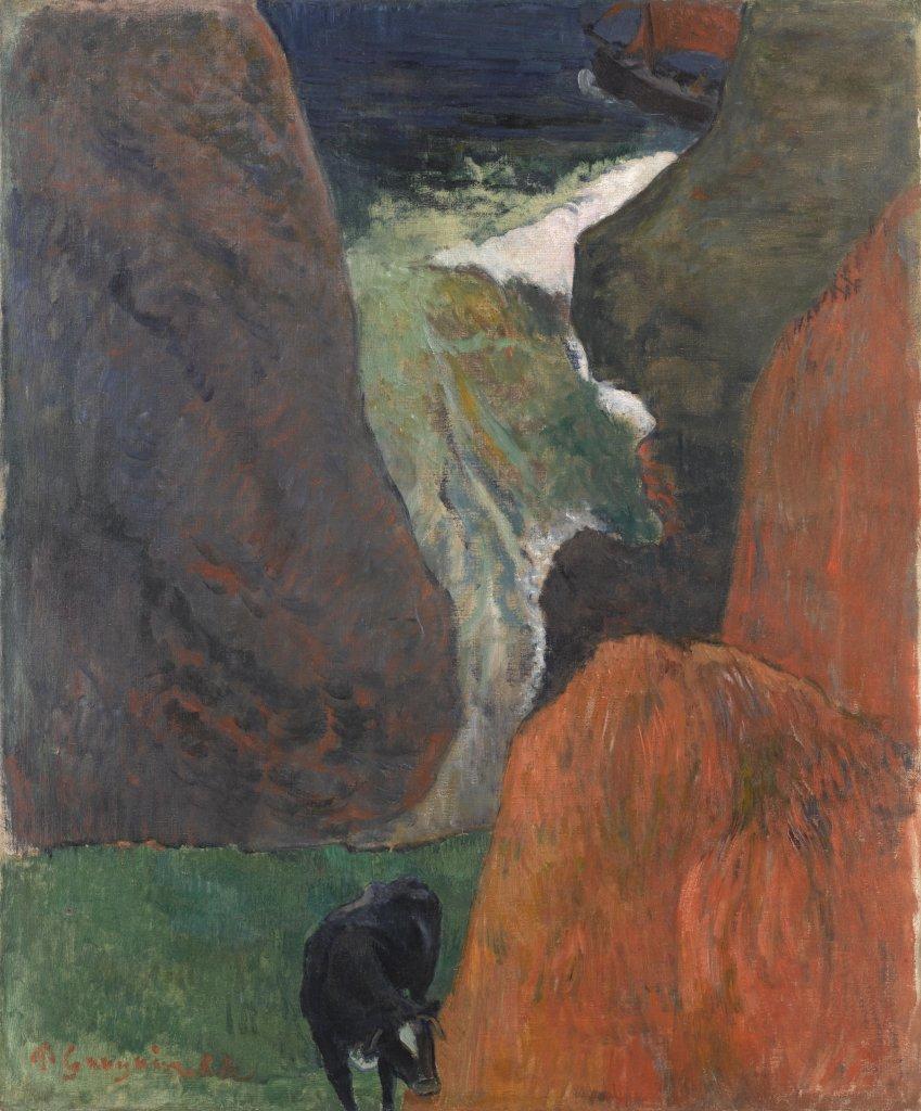 Paul Gauguin, Marine avec vache. Au bord du gouffre, 1888