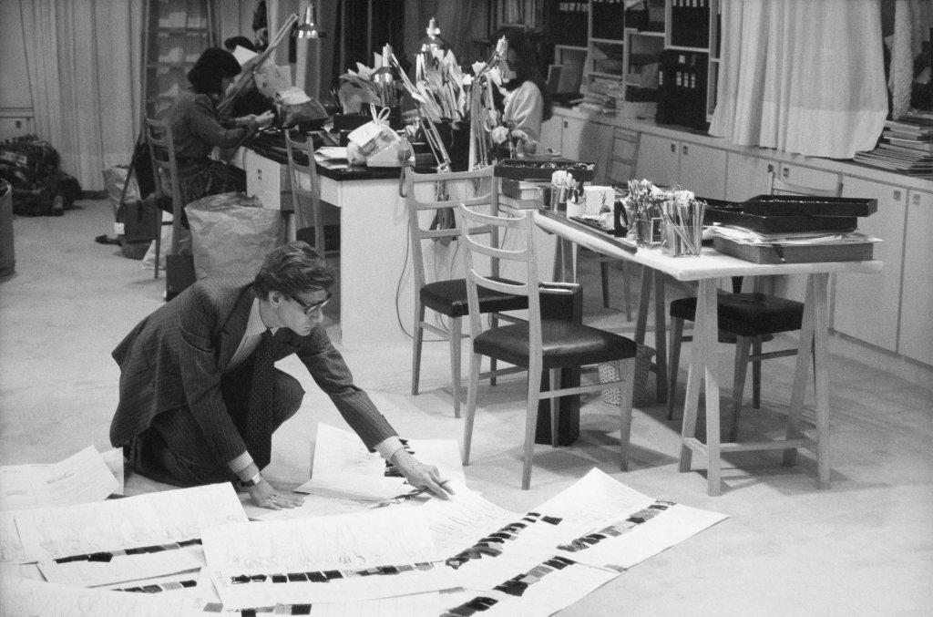 B - Yves Saint Laurent in his studio, 1986