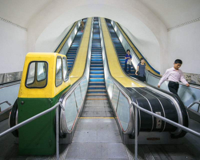 Pyongyang metro, one of the deepest in the world, is accessed by very long and steep escalators. It is also used as a bomb shelter due to its depth.