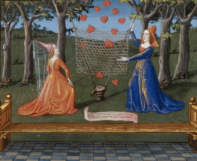 Coeurs captifs, La tenture de Manière et Chère Aimable, Livre du Coeur d'Amour épris, Paris, BnF, ms Français 24399, folio 122 verso (XVe siècle)