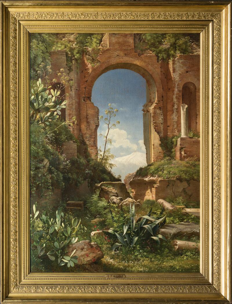 F.Baulme, Vue sur le Mont Etna à travers les ruines du Théâtre Grecde Taormina - DolceVita