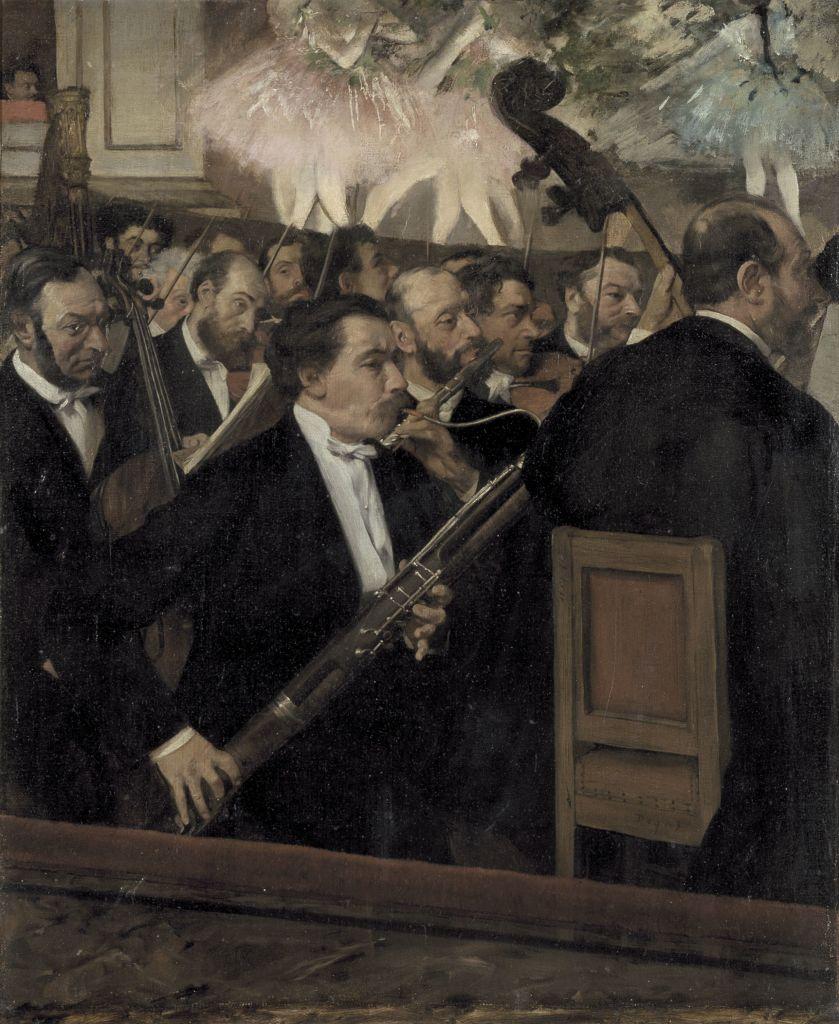 Edgar Degas l'orchestre à l'opéra vers 1870, hule sur toile, Paris musée d'Orsay RF 2417 © RMN Grand Palais herve Lewandowski