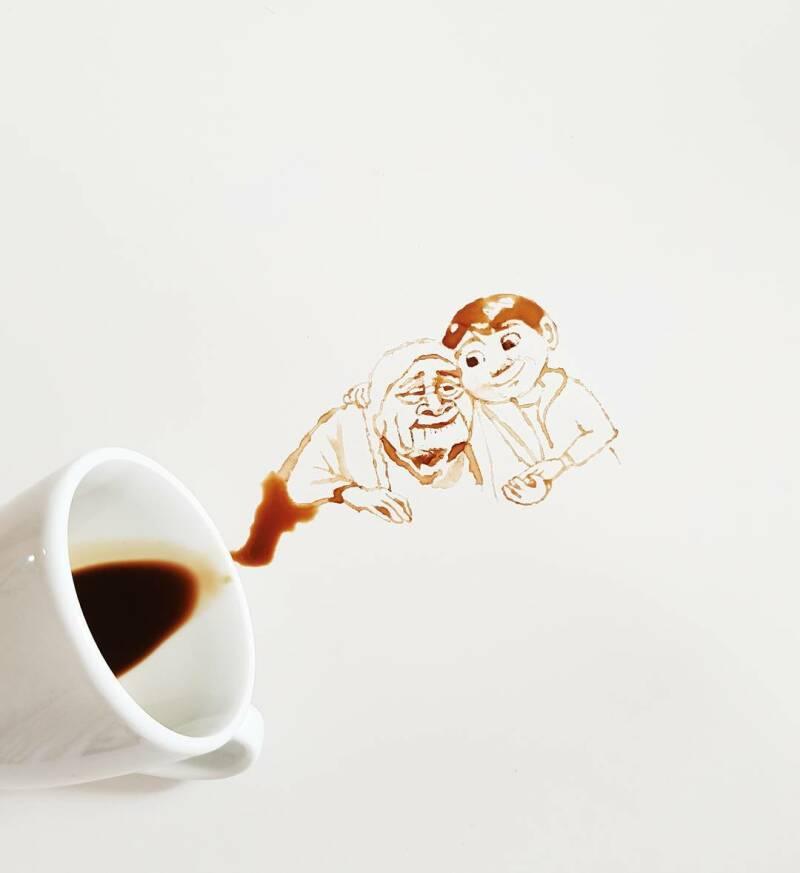 © Giulia Bernadelli, granny grandson coffee
