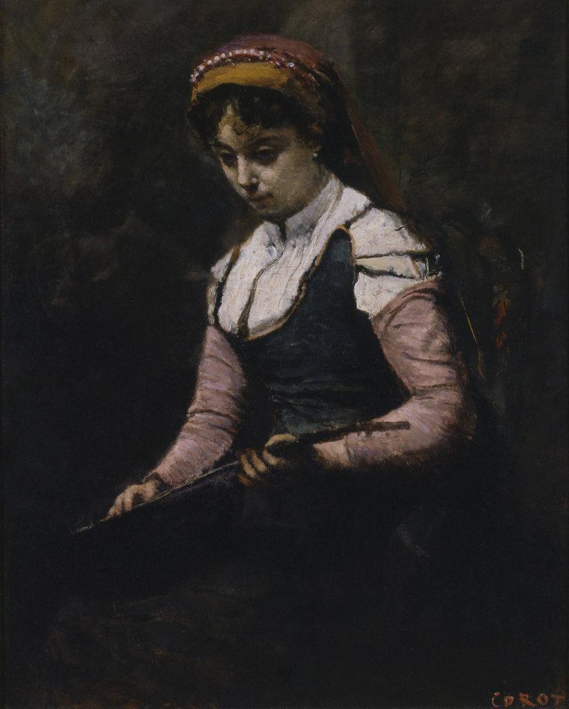 Jean Baptiste Camille Corot, Femme à la mandoline, vers 1860-1865