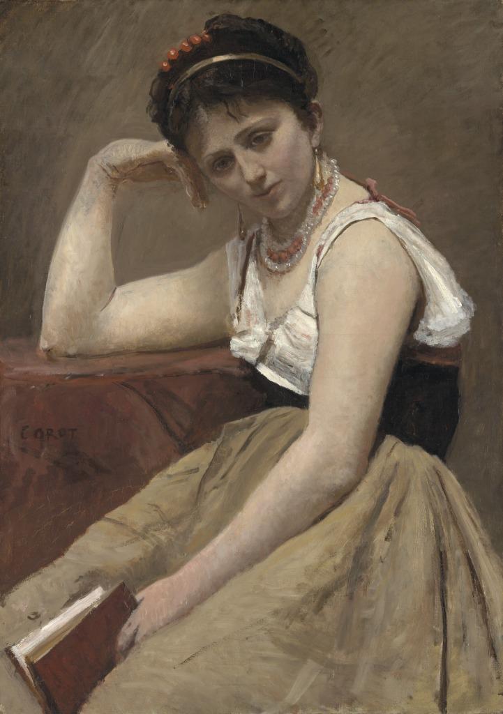 Jean Baptiste Camille Corot, La lecture interrompue, vers 1870