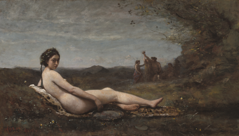 Jean-Baptiste-Camille Corot (French, 1796 - 1875 ), Repose, 1860, reworked c. 1865/1870, oil on canvas, Corcoran Collection (William A. Clark Collection) 2014.79.709