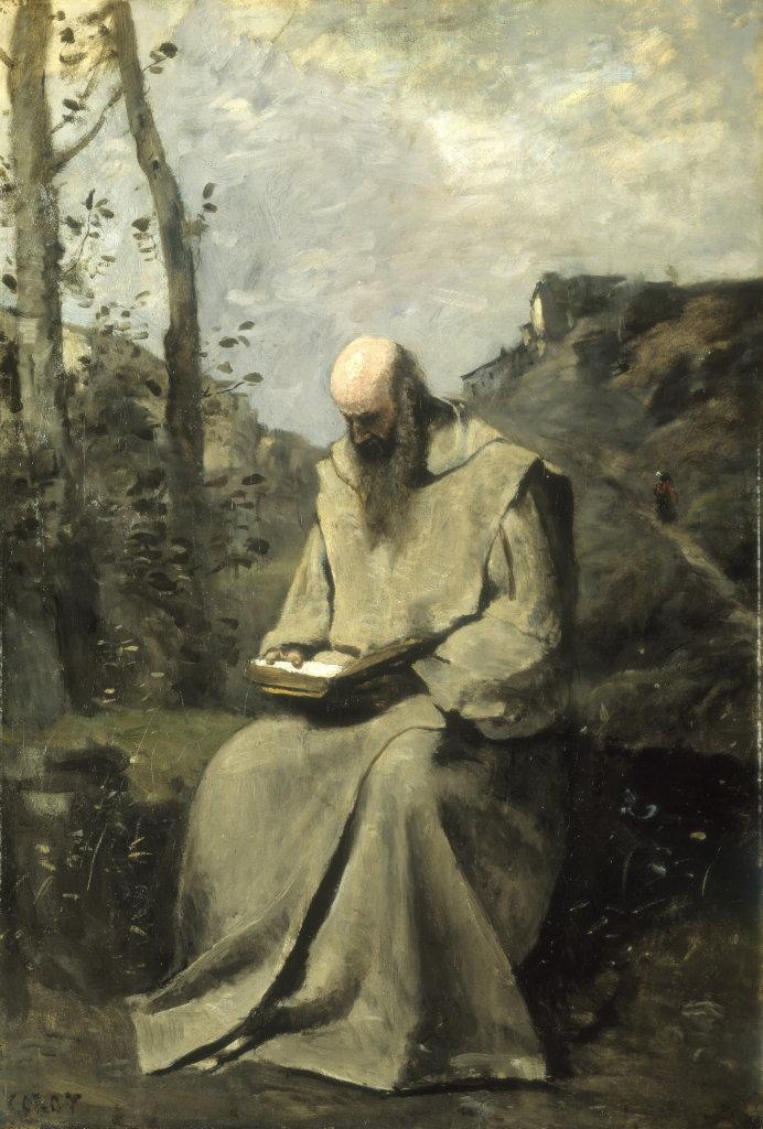 Jean Baptiste Camille Corot, Moine blanc assis lisant, 1865