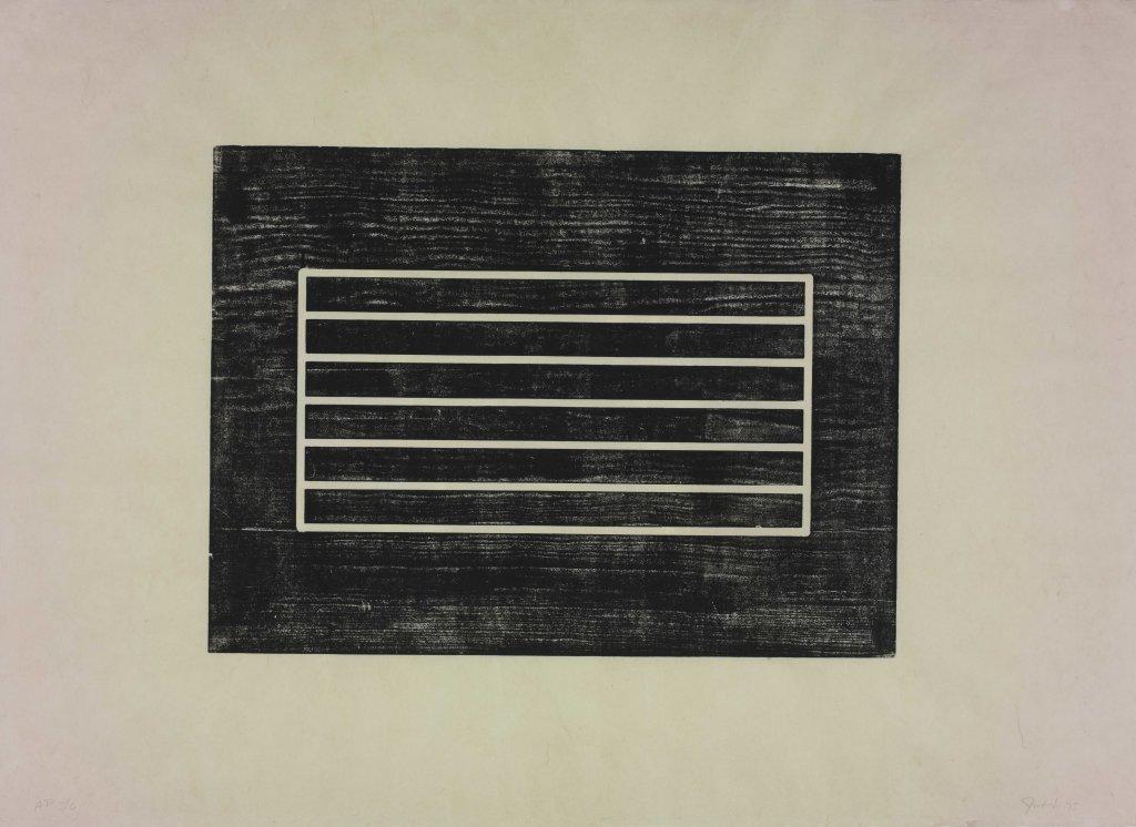 Donald Judd, Untitled, 1961-75 Gravure sur bois sur papier crème oriental.