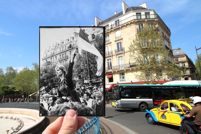 La Marianne de Mai 68, photo culte prise lors du rassemblement étudiant dans le quartier du Luxembourg.