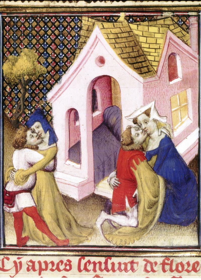 La prostitution, un lieu ouvert dans la ville. Boccace, Des femmes nobles et renommés, Paris, BnF, ms Français 598, folio 97, début du XVe siècle.
