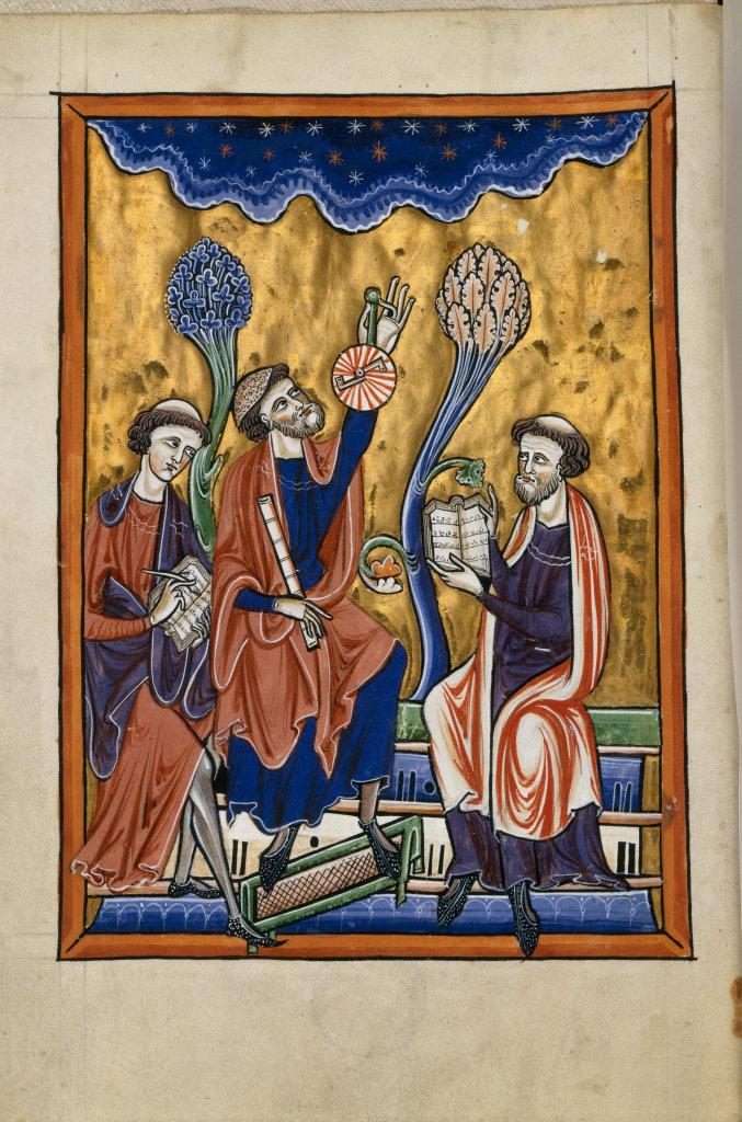 Traduction d'un ouvrage d'astronomie en présence d'Abraham Ibn Ezra, Psautier dit de Blanche de Castille, après 1218 Paris Bibliothèque de l'Arsenal