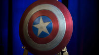 The shield used by Chris Evans in the 2016 film, Captain America Civil War. Courtesy of the Smithsonian Institution.